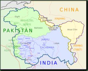 Mapa India, Pakistán y China