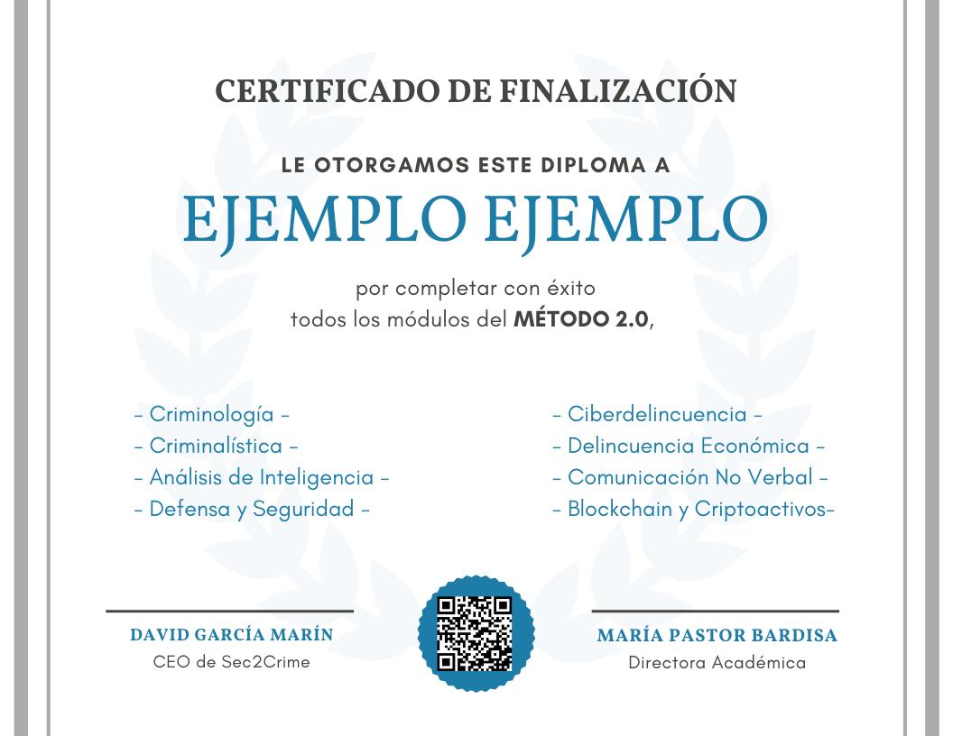 Certificado Sec2Crime Método 2.0